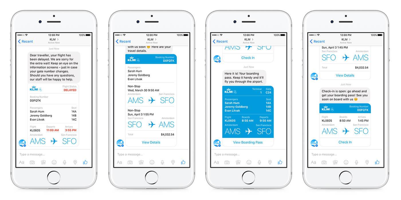 大量公司已開始利用 Messenger 的聊天機器人功能服務客戶。圖為荷蘭航空的客服機器人,可為乘客提供機票及航班資料